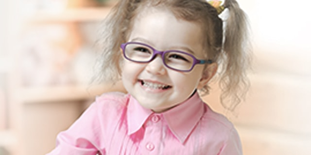 44eb64b689 Little Girl wearing Tomato Glasses with Prescription Lenses