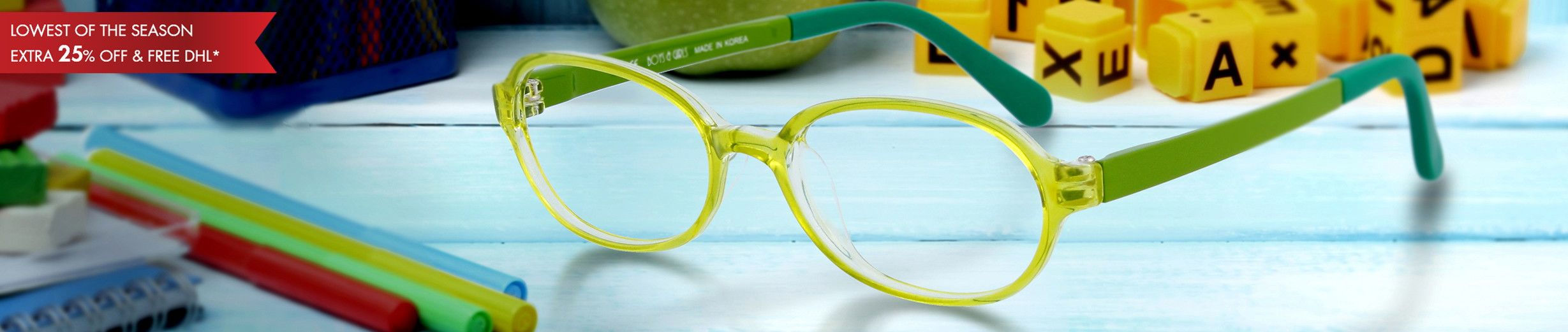Little Kids (age 4-7) Glasses at up to 70% off retail price. Top quality prescription lenses.