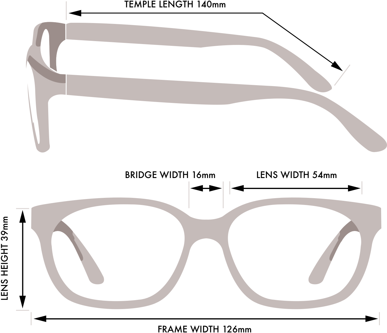 Frame Size Guide Glasses Gallery Prescription Glasses